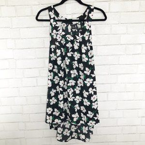Torrid Black & White Floral High Low Chiffon Tank
